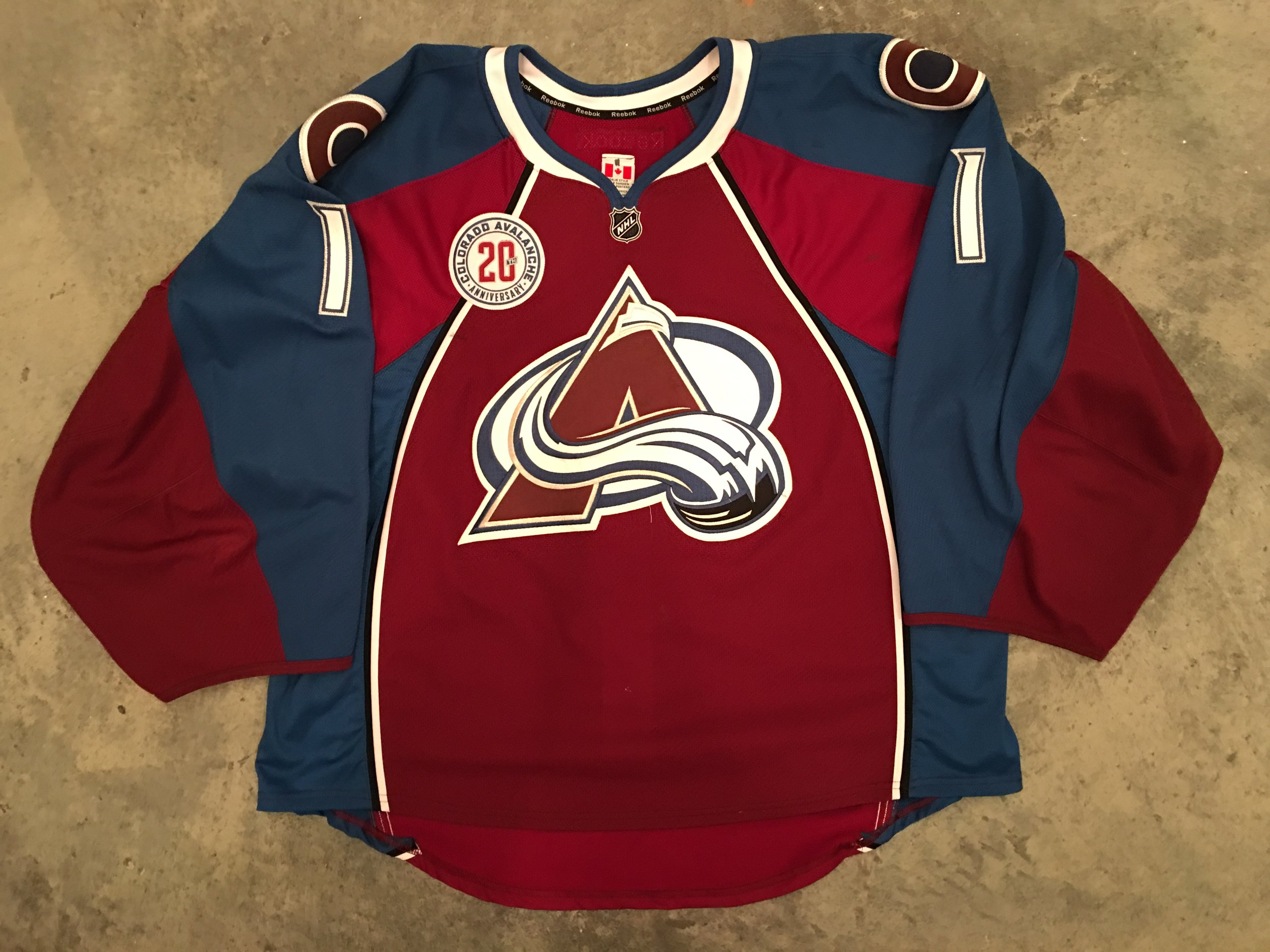 2015-16 Semyon Varlamov game worn home jersey with the Avalanche 20th anniversary patch
