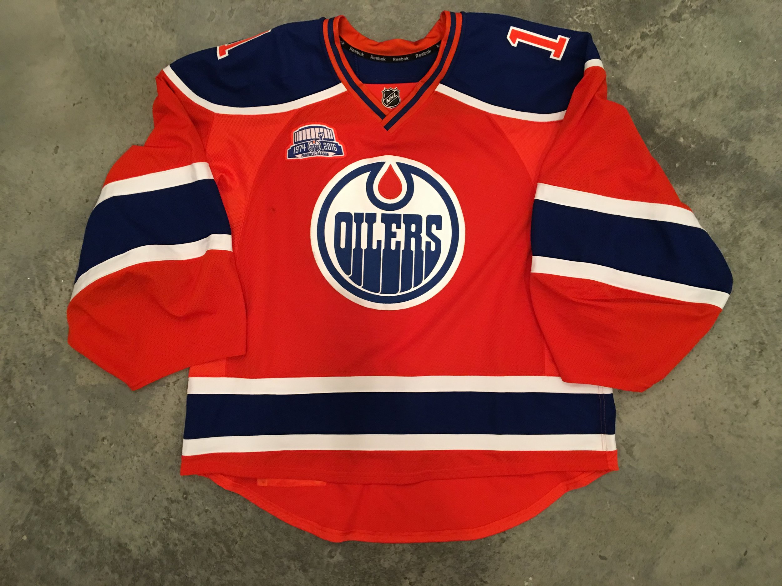 2015-16 Louis Broisett game worn alternate jersey with Rexall Place Farewell patch.