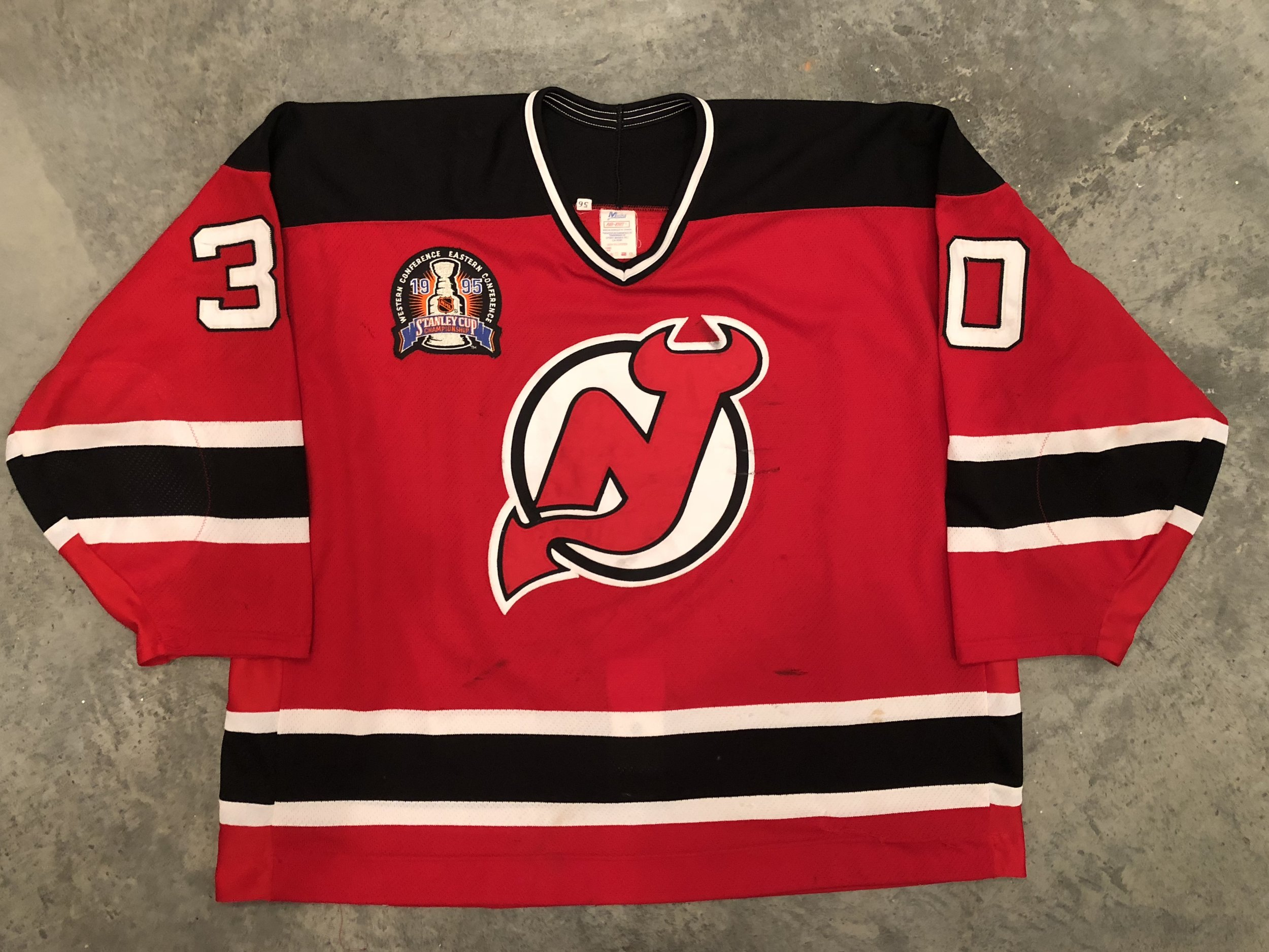 1995 New Jersey Devils Game Worn Stanley Cup Finals Road Jersey - Martin Brodeur