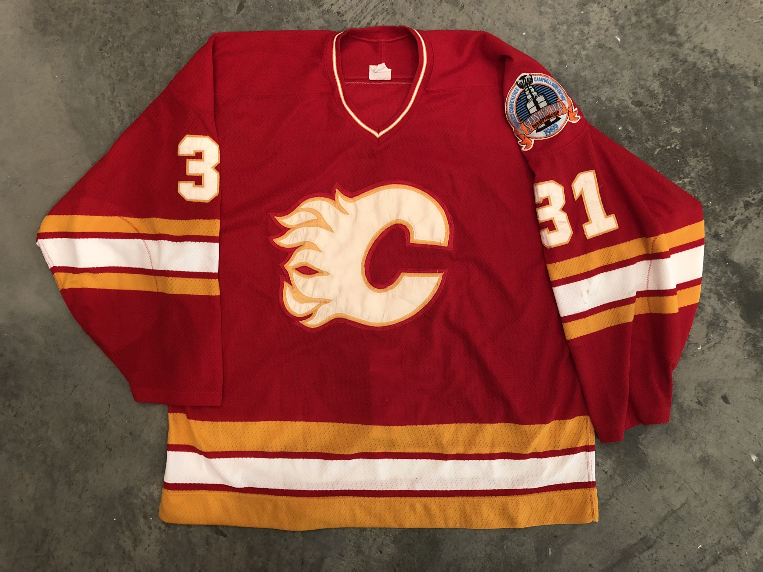 1989 Calgary Flames Stanley Cup Finals Game Worn Road Jersey - Rick Wamsley