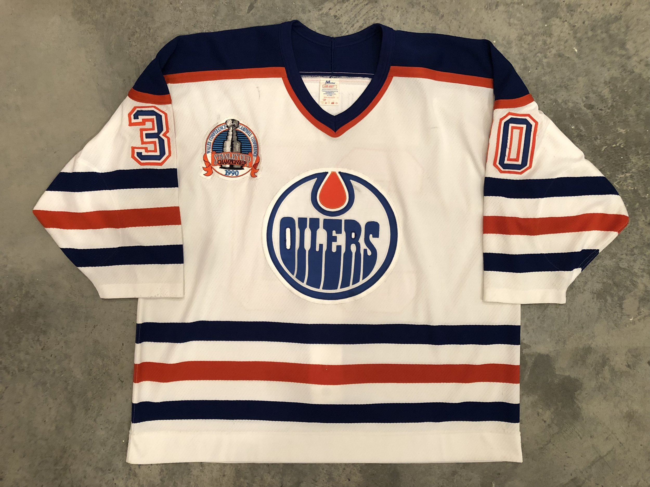 1990 Bill Ranford game worn home jersey with 1990 Stanley Cup Finals patch