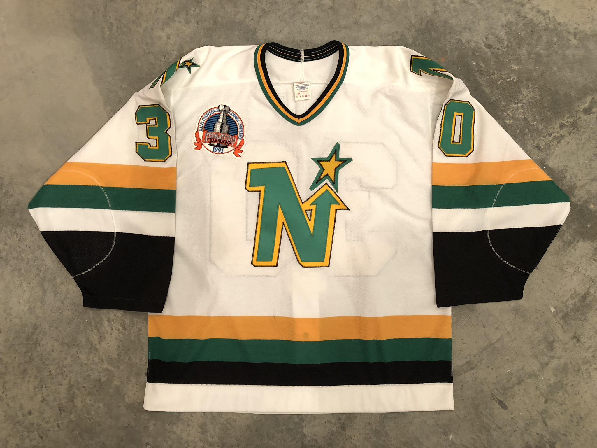 1991 Jon Casey game worn home jersey with 1991 Stanley Cup finals patch