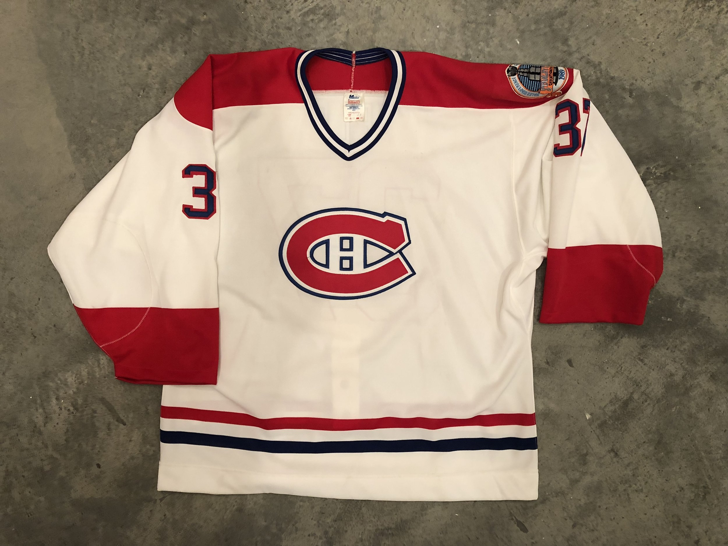 1989 Randy Exelby game issued home jersey with the 1989 Stanley Cup Finals patch