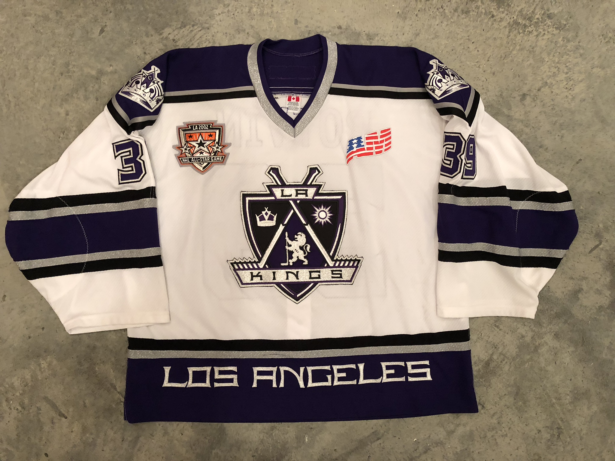 2001-02 Felix Potvin game worn home jersey with 2002 NHL All Star Game patch and Ace Bailey & Mark Bavis memorial patch