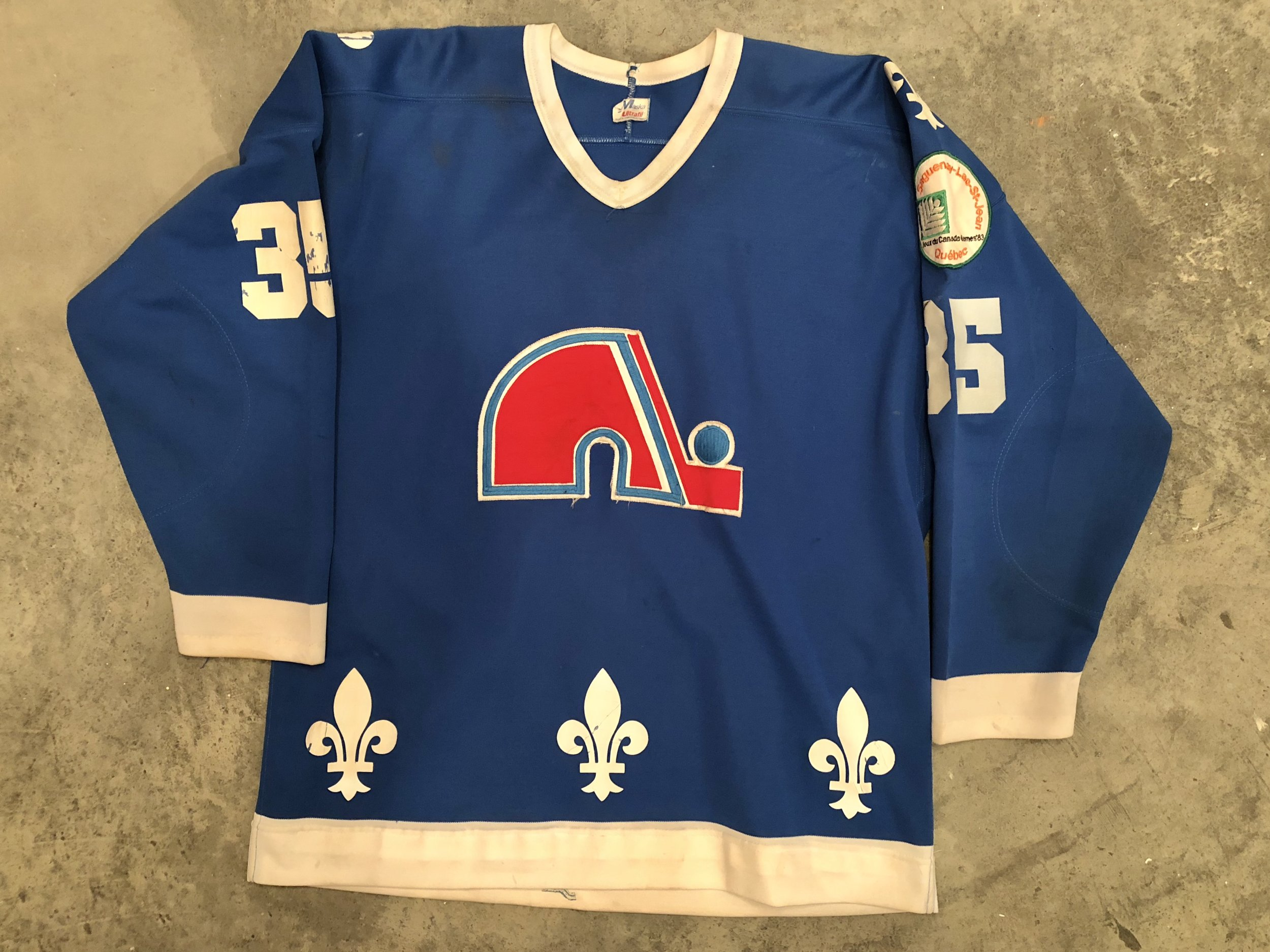 1982-83 Dan Bouchard game worn road jersey with 1983 Canada Games patch