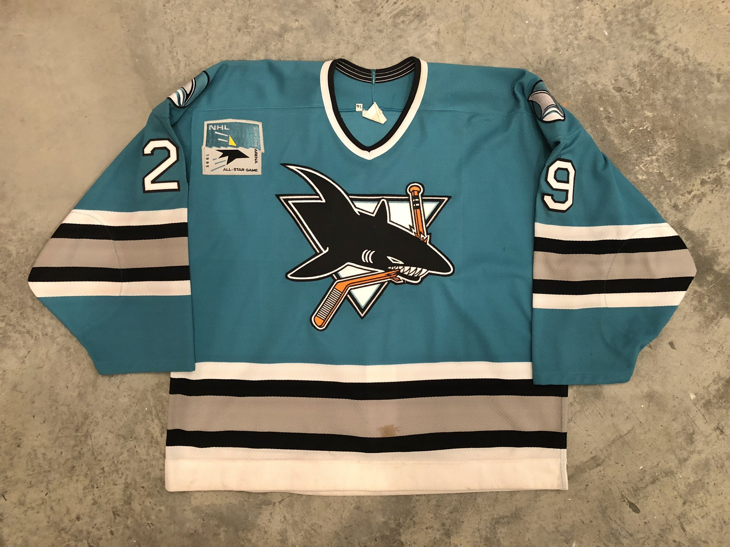 1994 playoffs Jimmy Waite game worn jersey with 1995 NHL All Star game patch