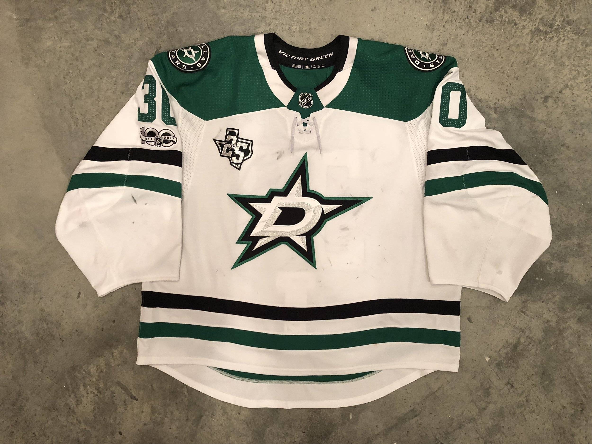 2017-18 Ben Bishop game worn road jersey with the Stars 25th anniversary and NHL centennial patches
