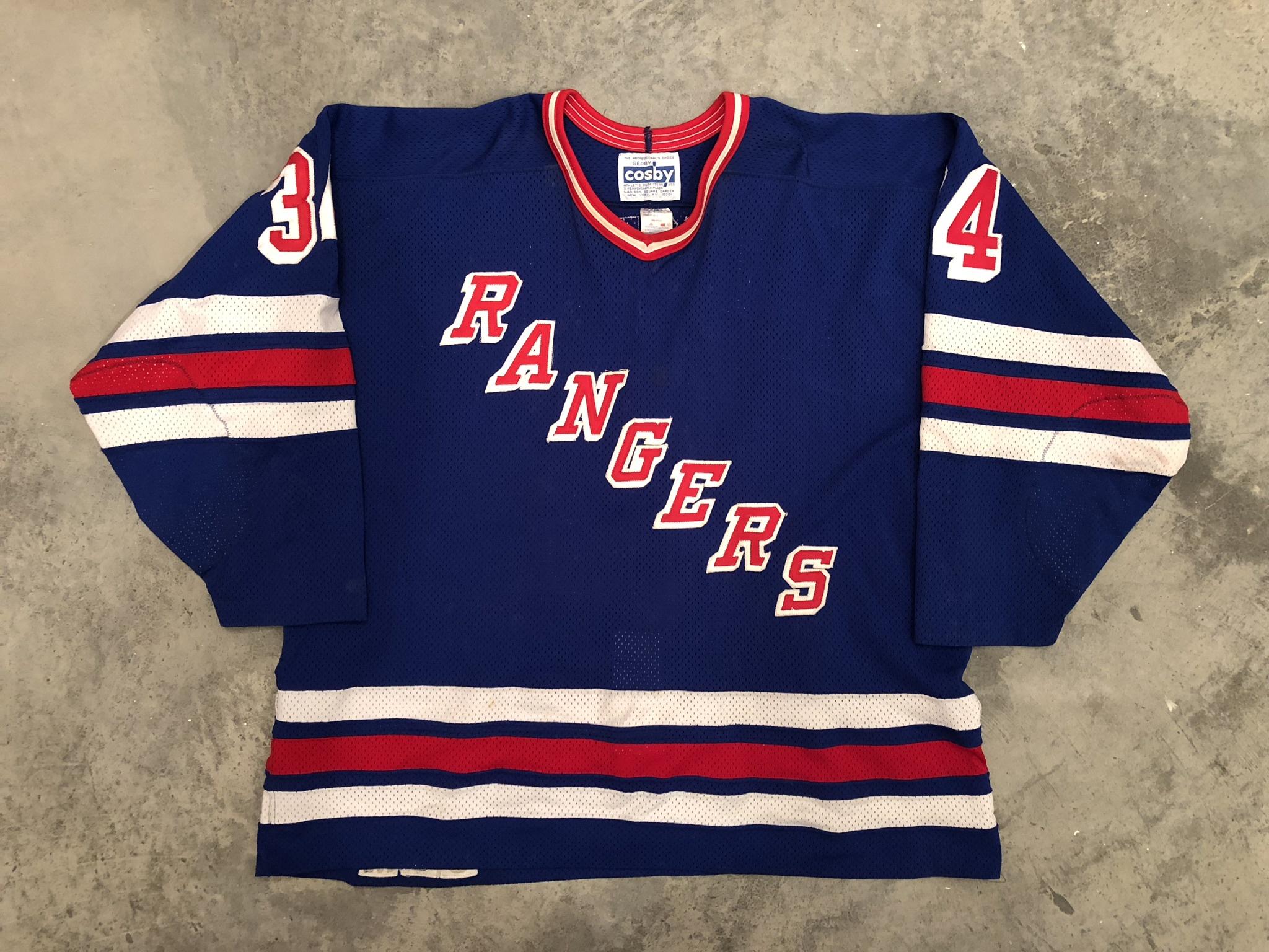 1987-88 New York Rangers game worn road jersey