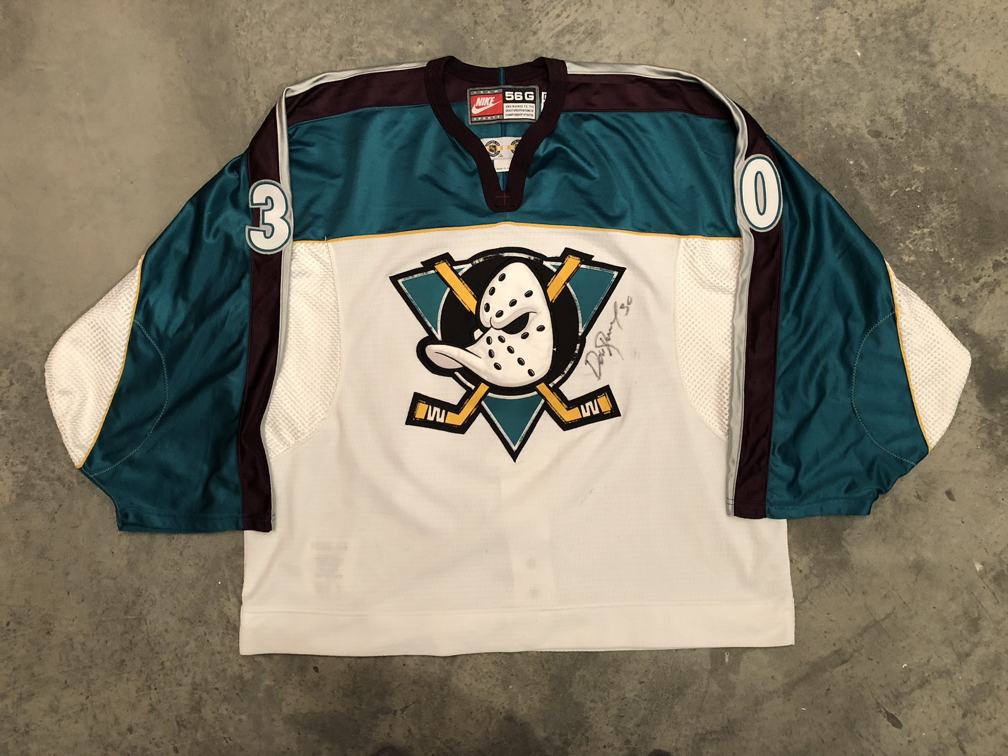1998-99 Dominic Roussel Anaheim Mighty Ducks White Alternate Game Worn Jersey