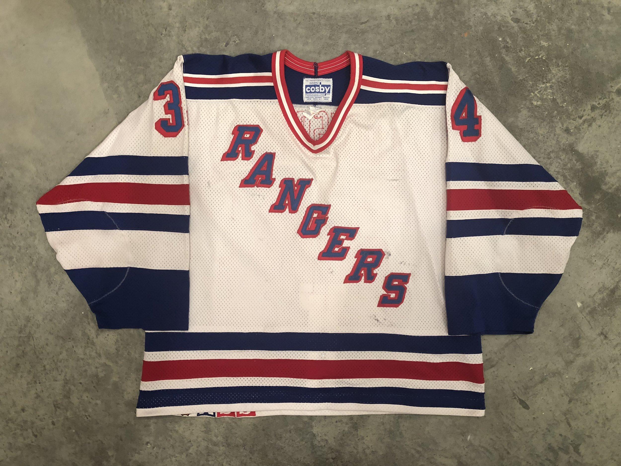 1990-91 New York Rangers game worn home jersey