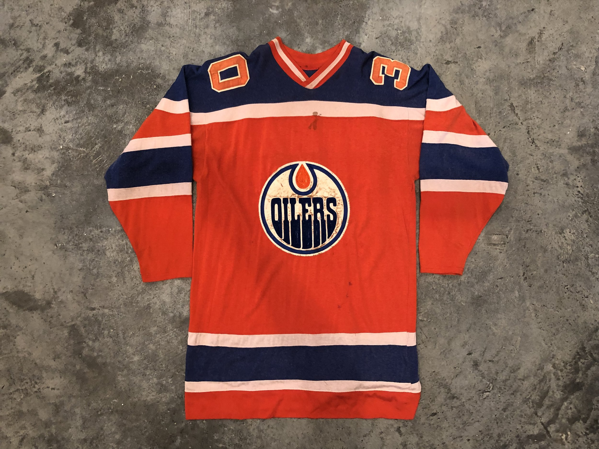 1972-73 Jack Norris & 1974-75 Jacques Plante Edmonton Oilers game worn road jersey