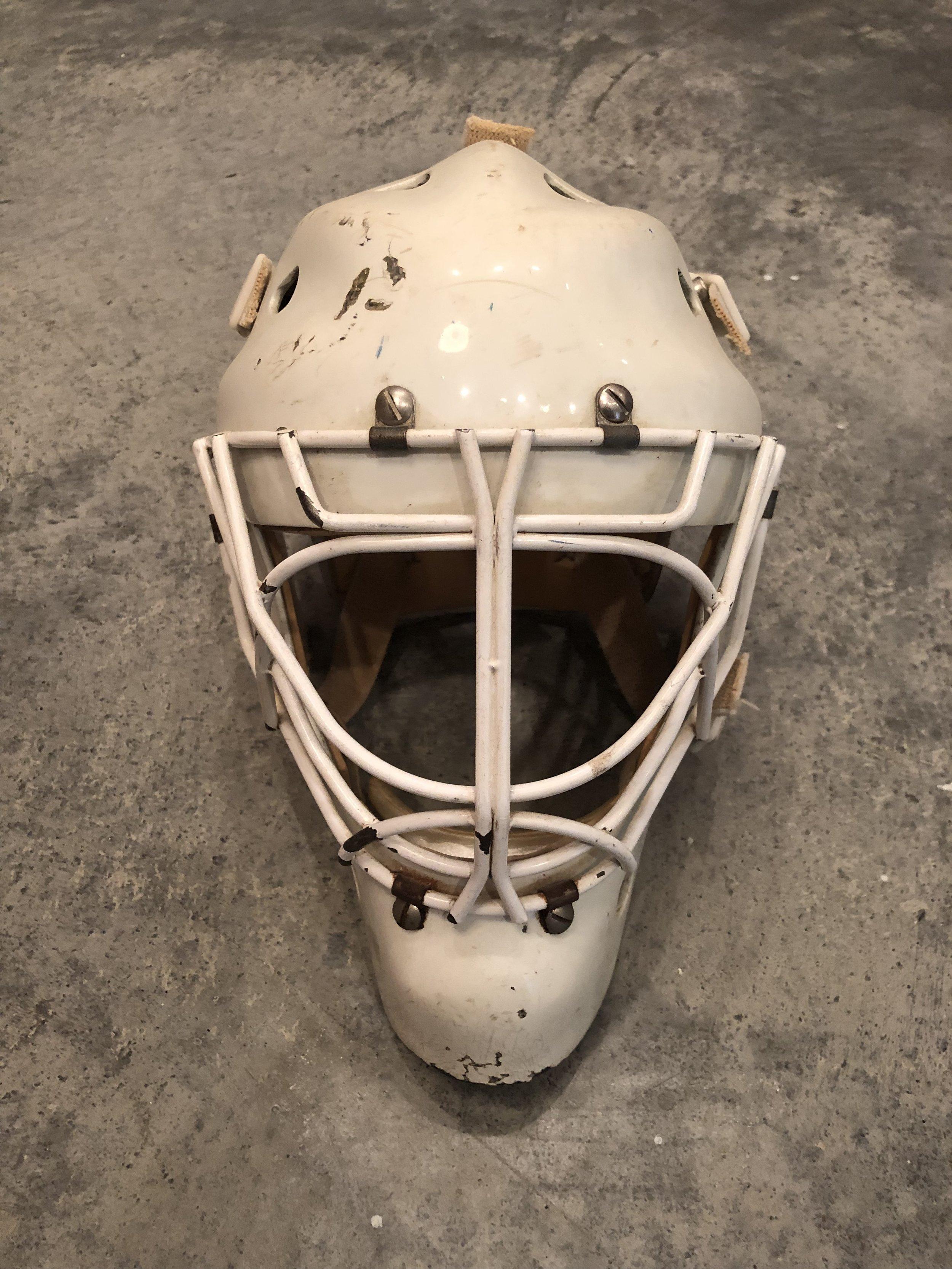 1995-96 Fred Brathwaite Edmonton Oilers game worn mask