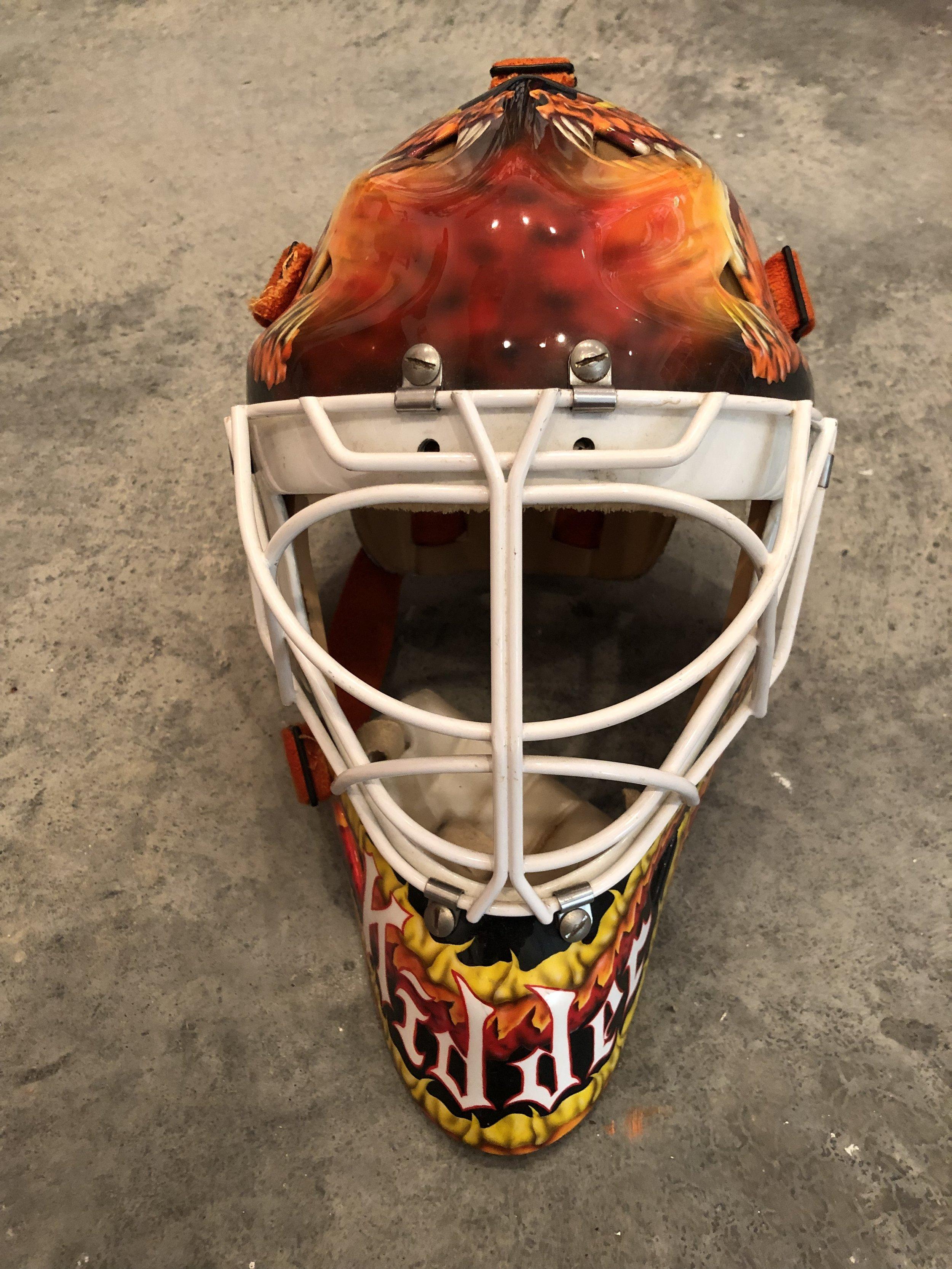 1995-96 Trevor Kidd Calgary Flames game worn mask