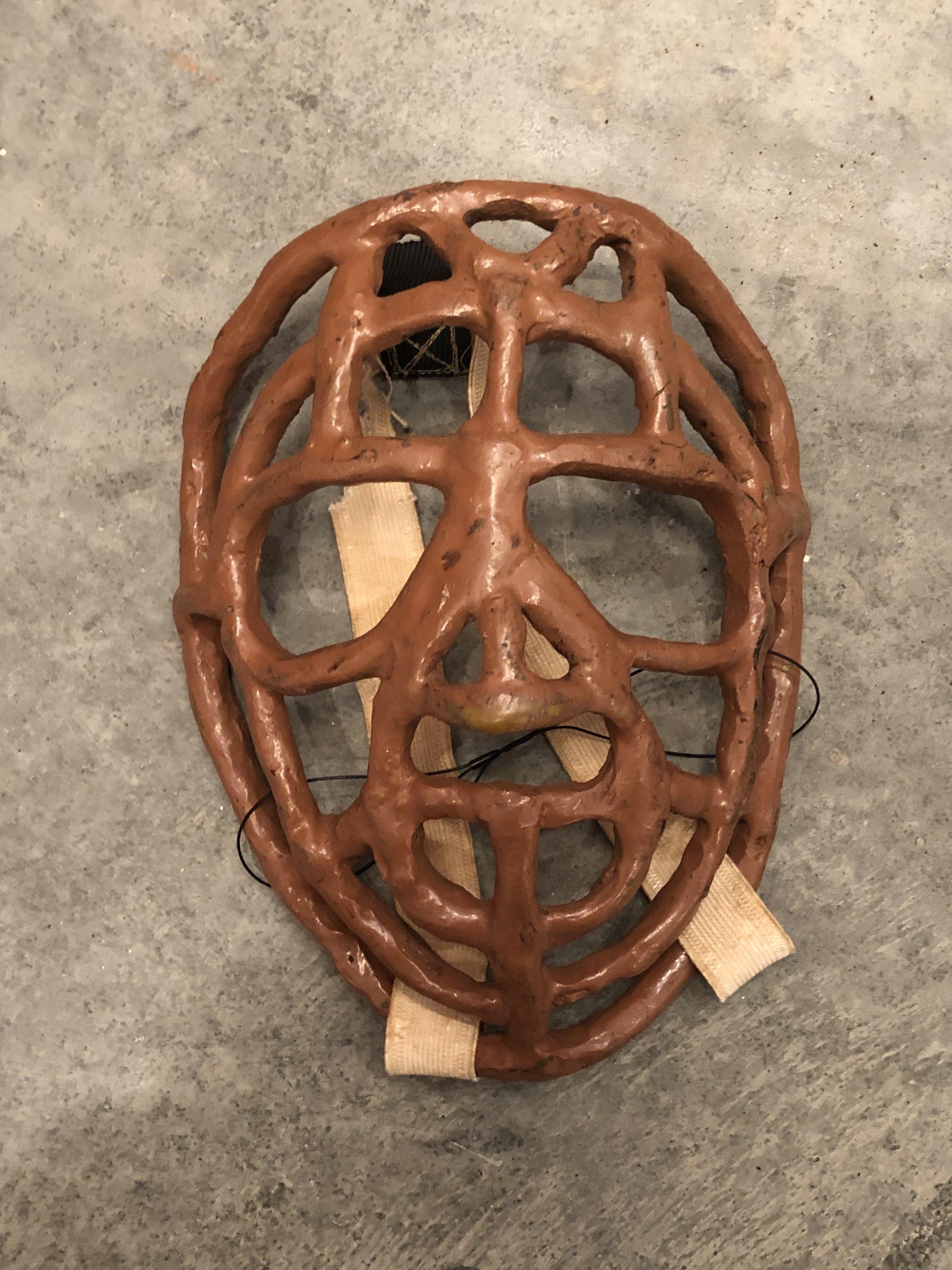 1960's Stephen Carr game worn pretzel style goalie mask