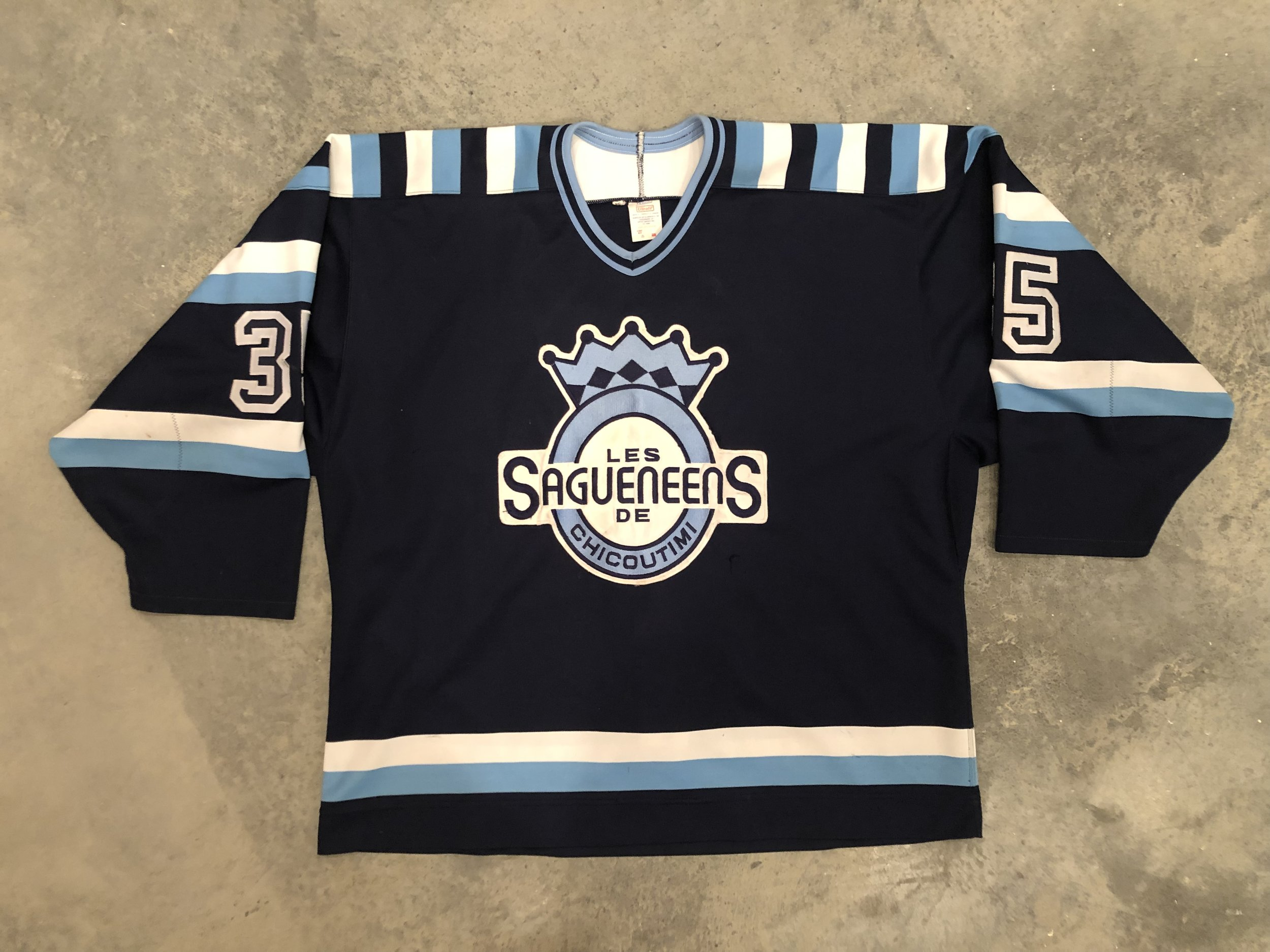 1993-94 Eric Fichaud Chicoutimi Sagueneens Game Worn Road Jersey