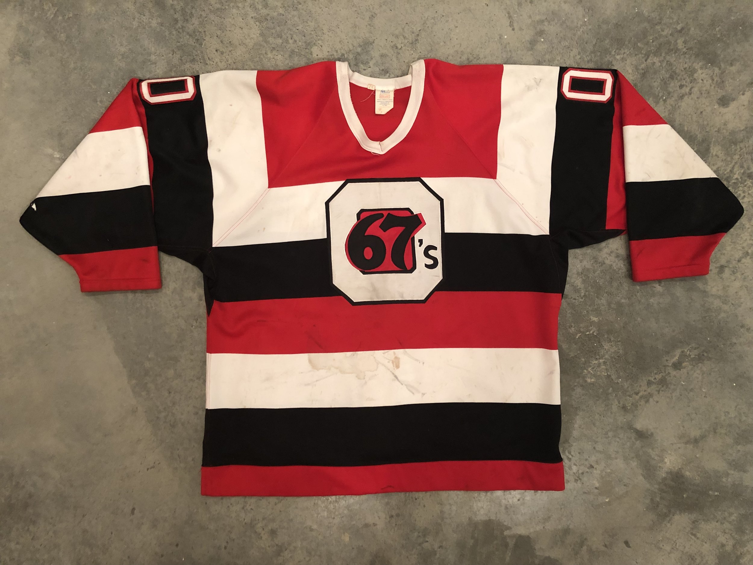 1994-95 Kevin Weekes Ottawa 67's Game Worn Barberpole Jersey