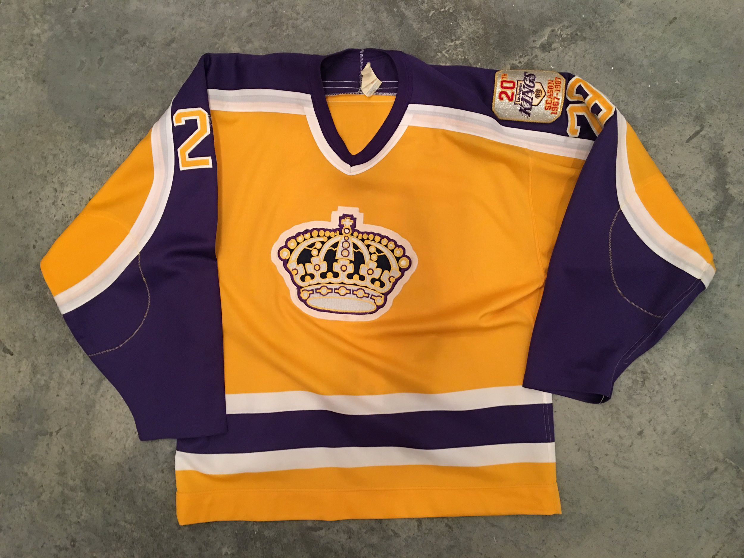 1986-87 Al Jensen game worn home jersey with Kings 20th anniversary patch - SOLD