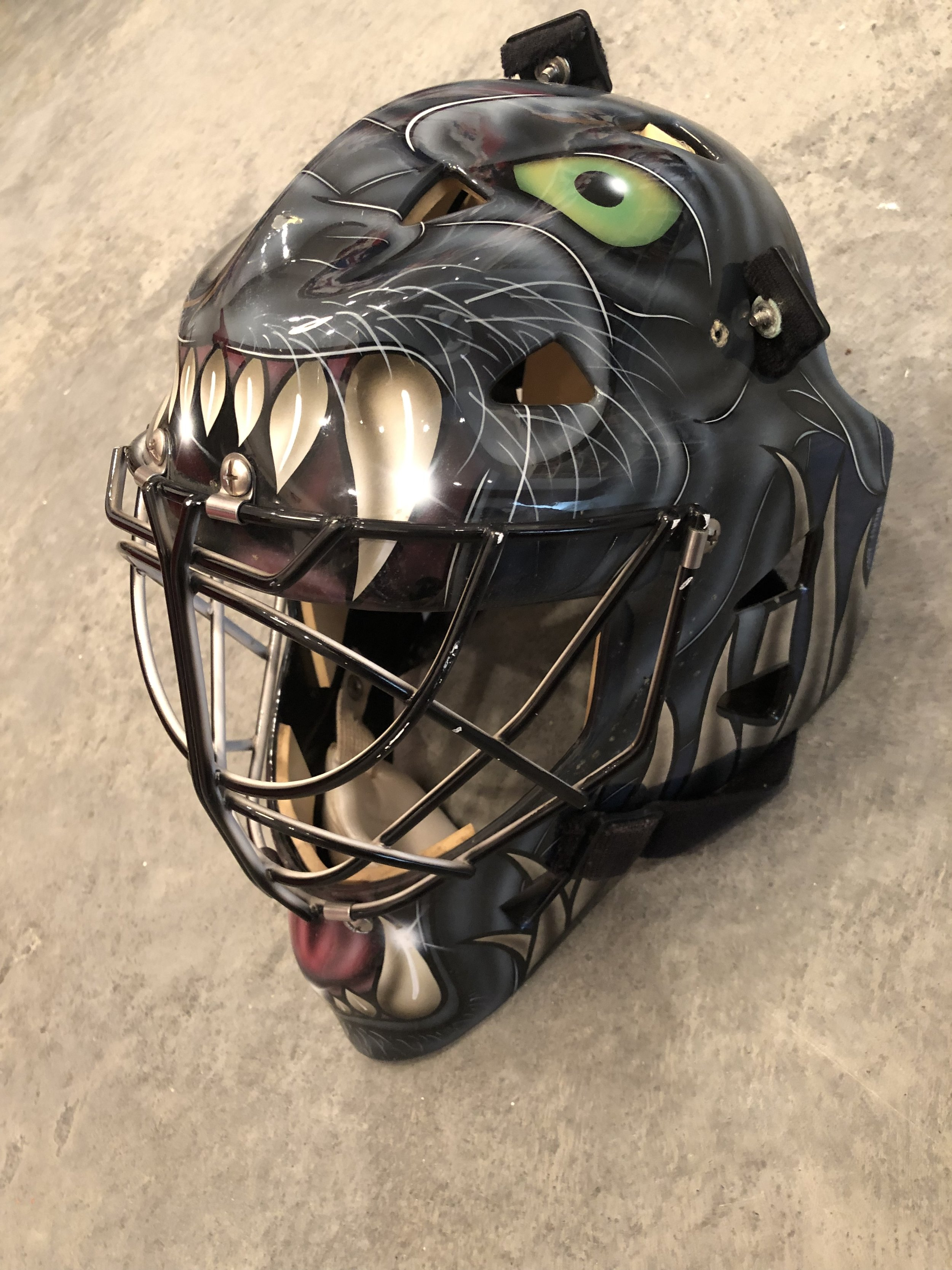2000-01 Kevin Weekes Tampa Bay Lightning game worn mask - PHOTO MATCHED   For Sale or trade for other NHL masks only - $3,000