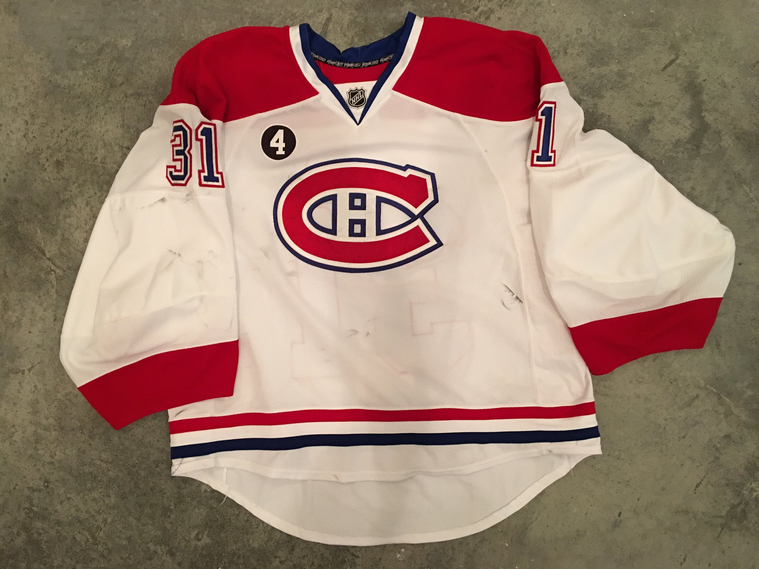 2014-15 Carey Price game worn road jersey with 4 - Jean Beliveau patch