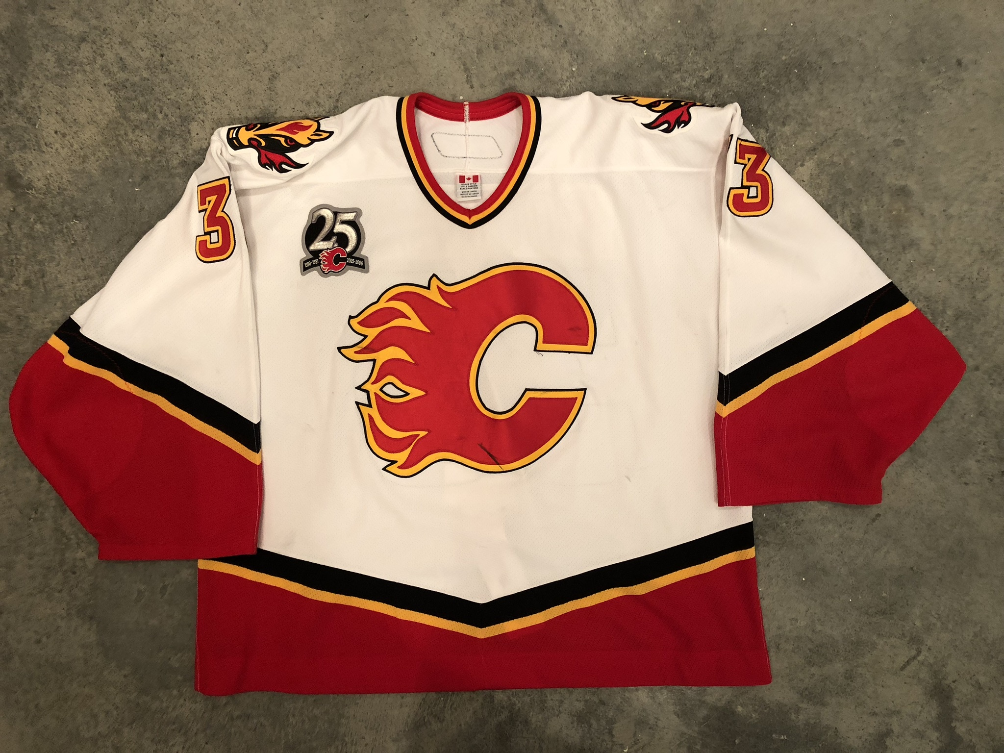 2005-06 Brian Boucher game worn road jersey with Flames 25th anniversary patch