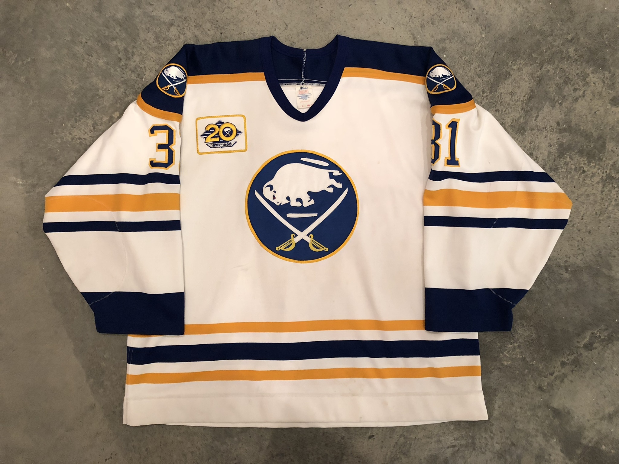 1989-90 Darren Puppa game worn home jersey with Sabres 20th anniversary patch
