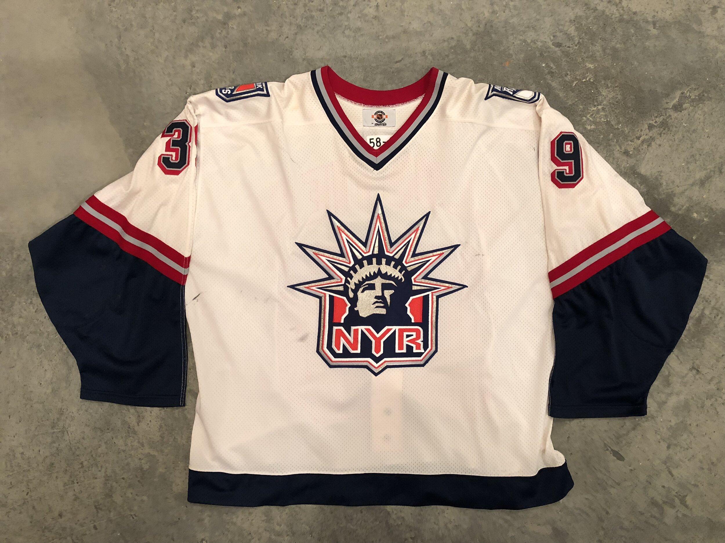 1998-99 Dan Cloutier New York Rangers White Liberty Game Worn Jersey