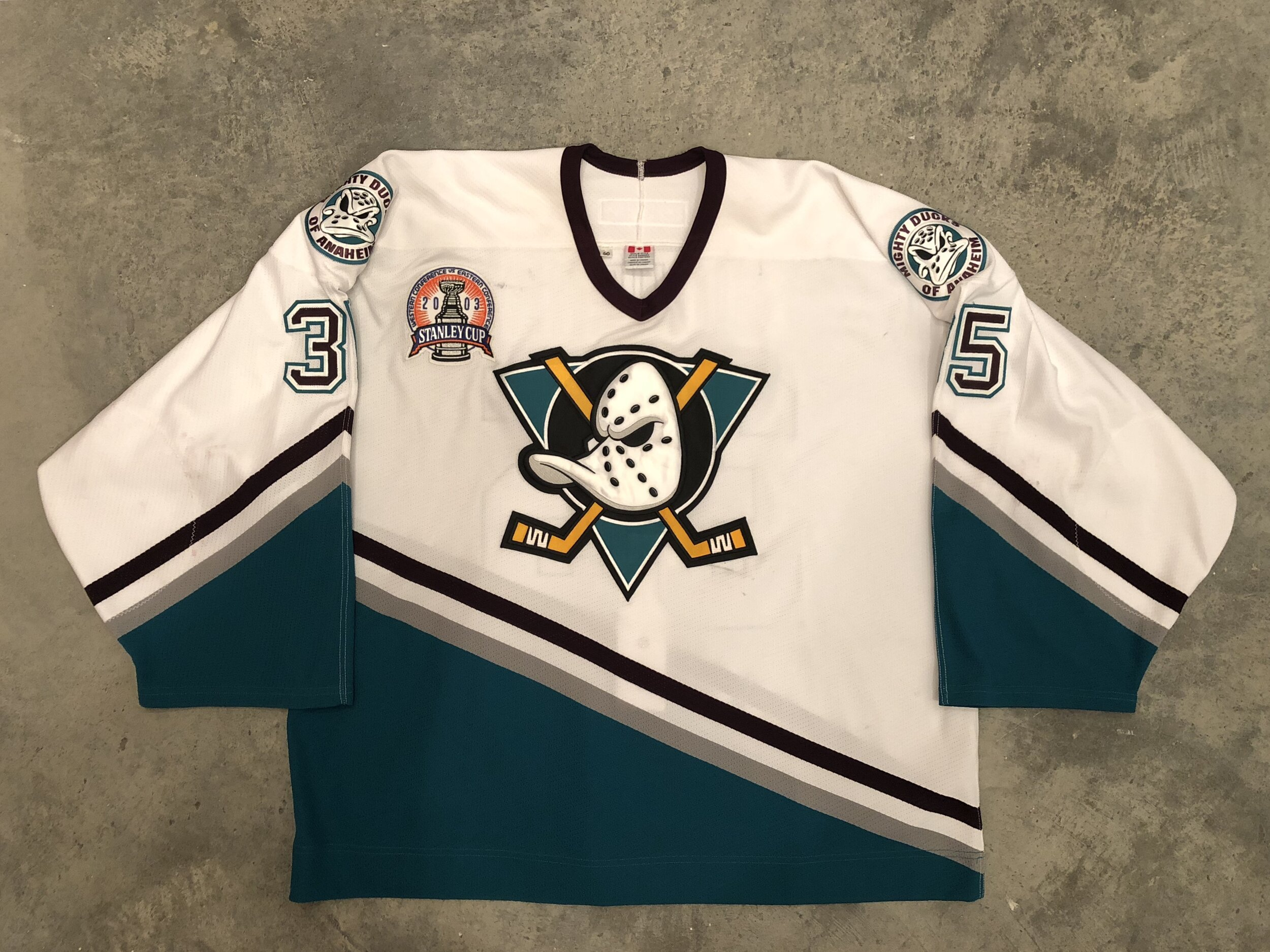 2003 J.S. Giguere game worn home jersey with the 2003 Stanley Cup Finals patch