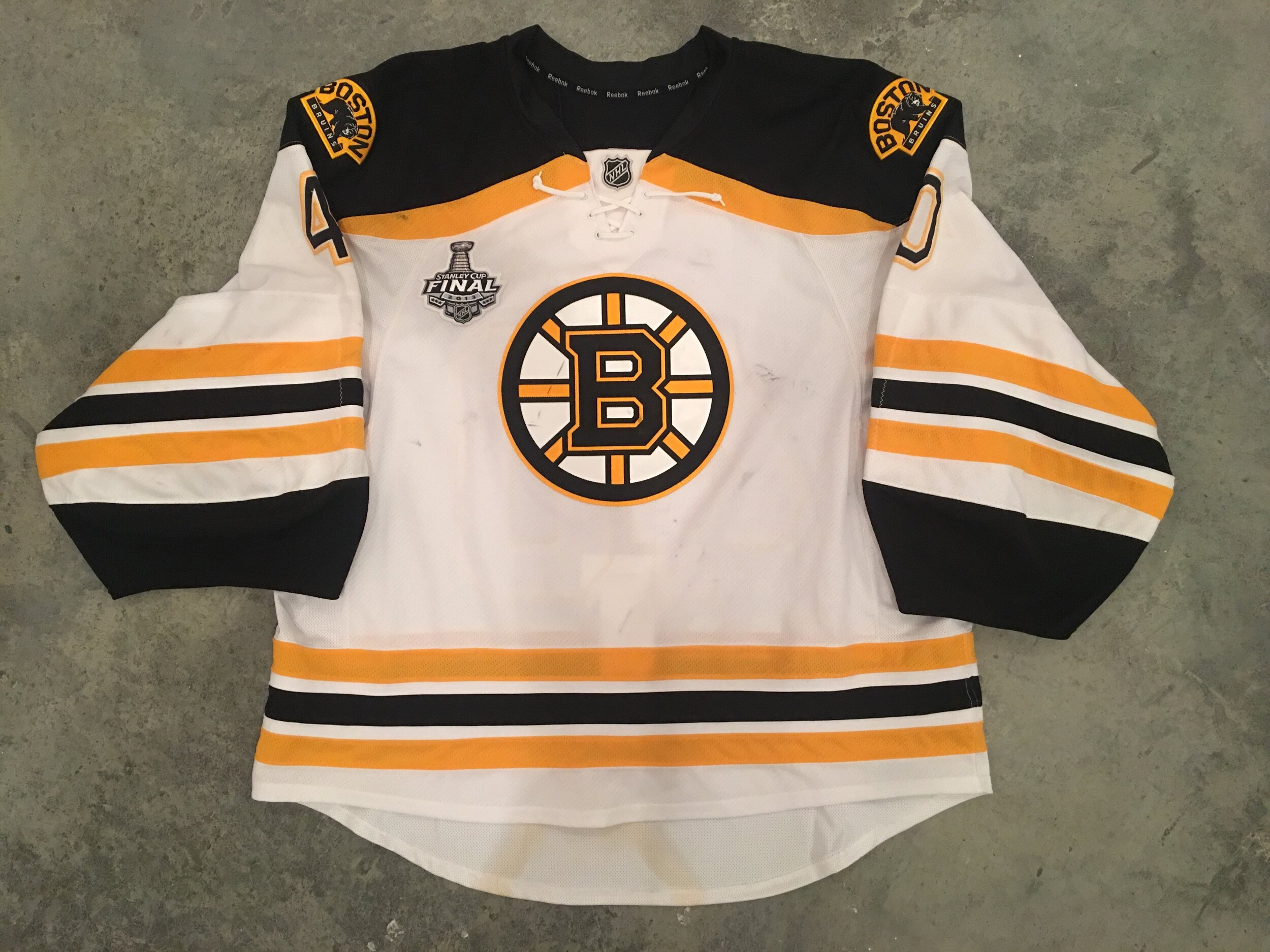 2013 Tuuka Rask game worn road jersey with 2013 Stanley Cup Finals patch