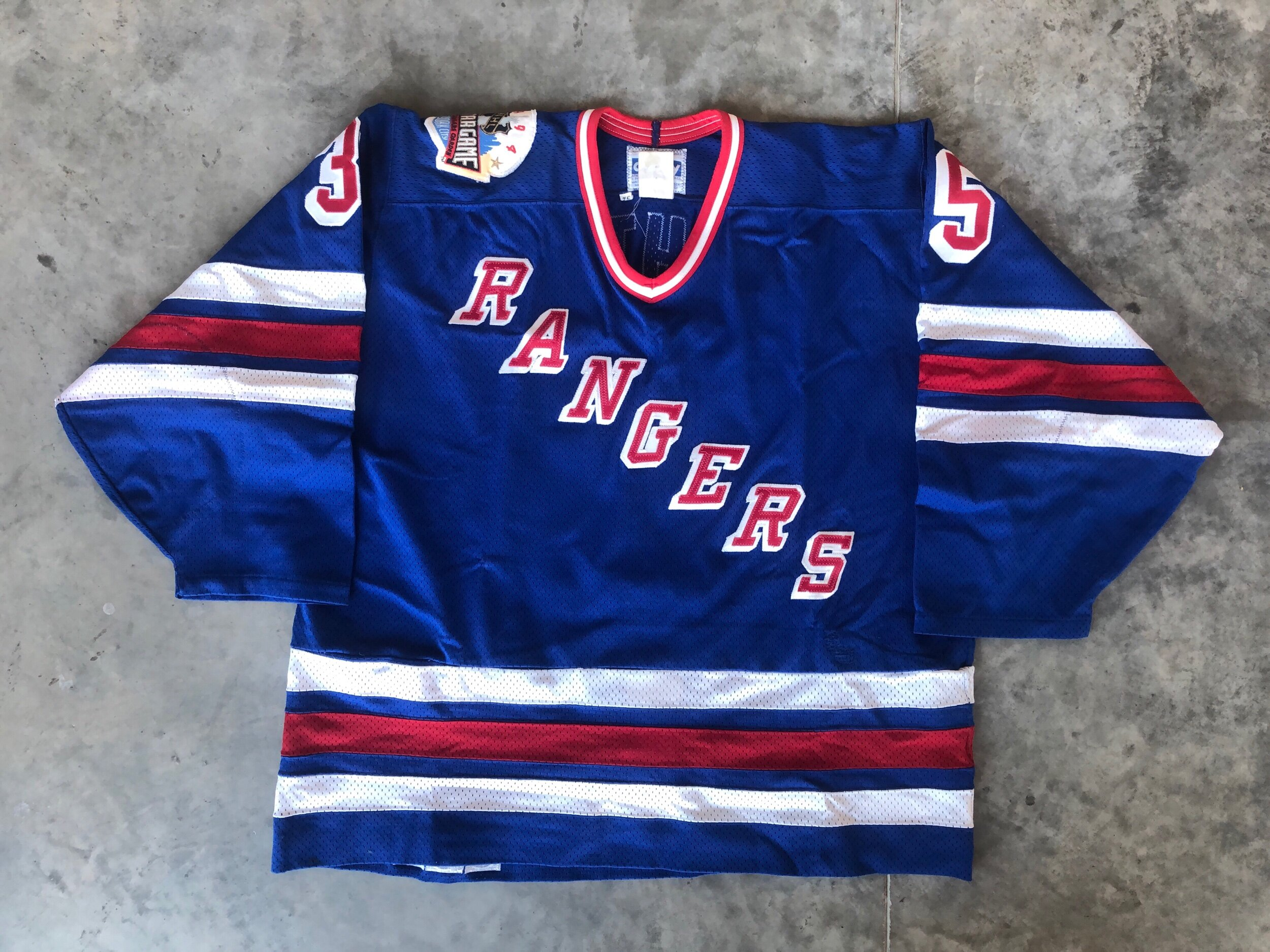 1993-94 Mike Richter game worn road jersey with the 1995 NHL all star game patch
