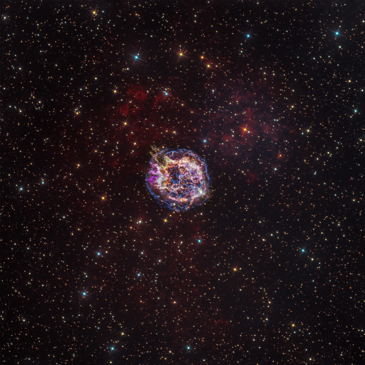 Overlay, composed of X-ray and optical image data from the Chandra X-ray Observatory and Hubble Space Telescope