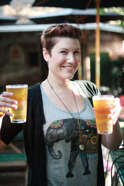 Angela is pleased to have 2 beers