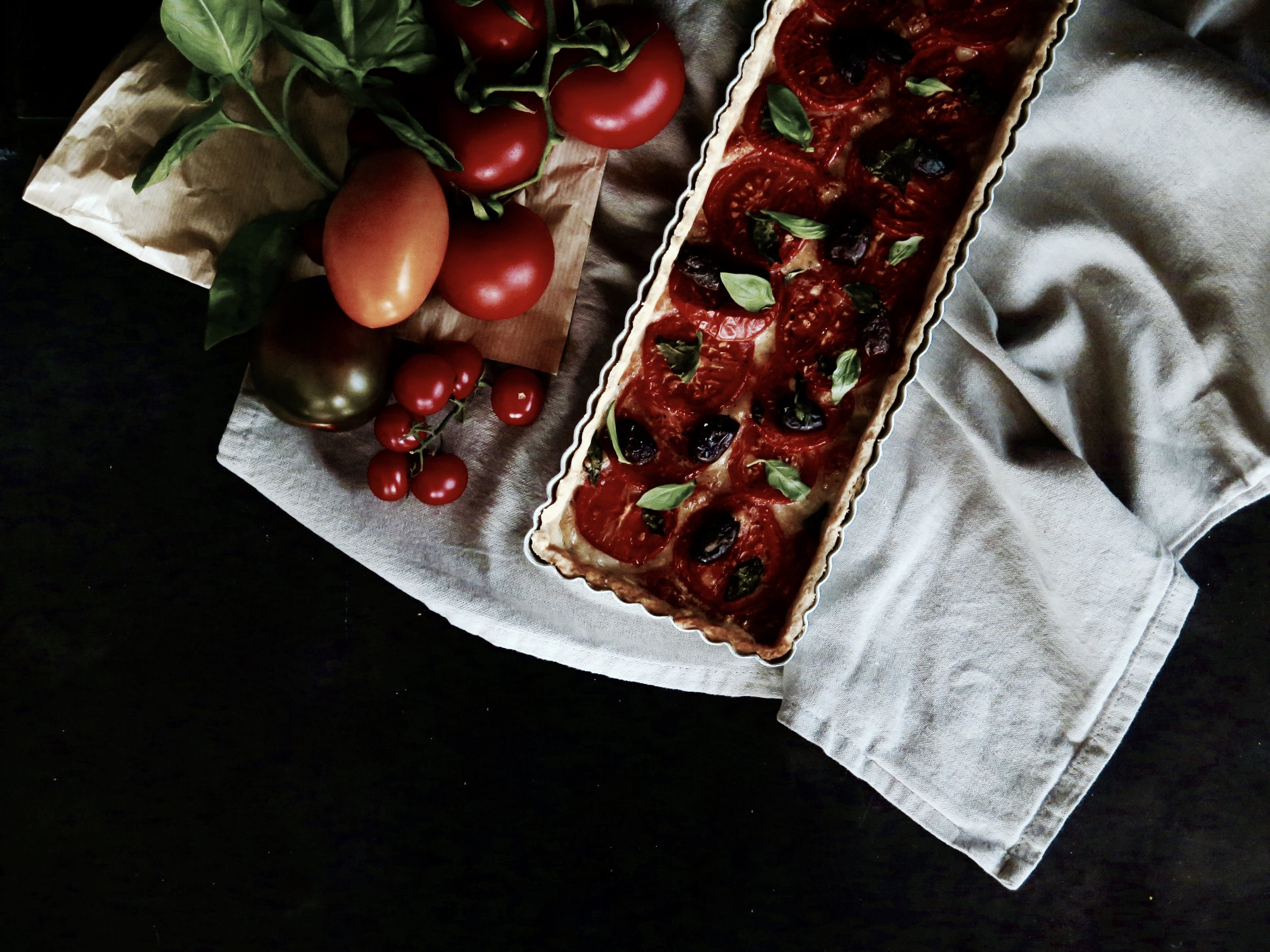 Mozzarella Tomato Basil Crostata Recipe