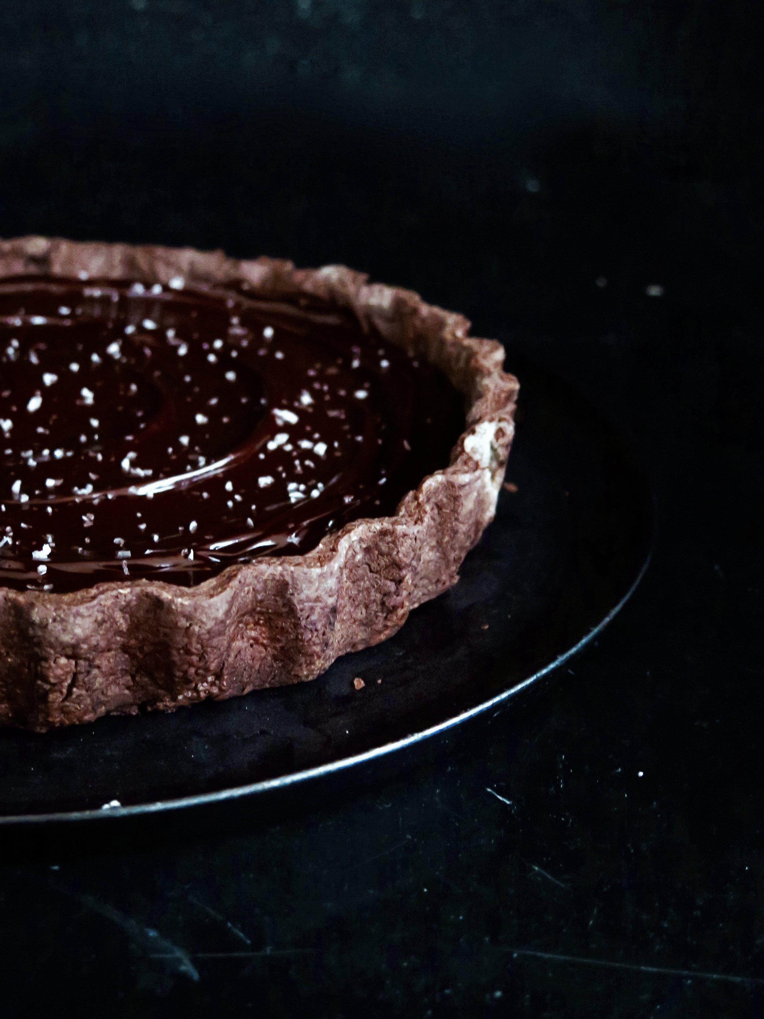 Salted caramel & peanut chocolate tart
