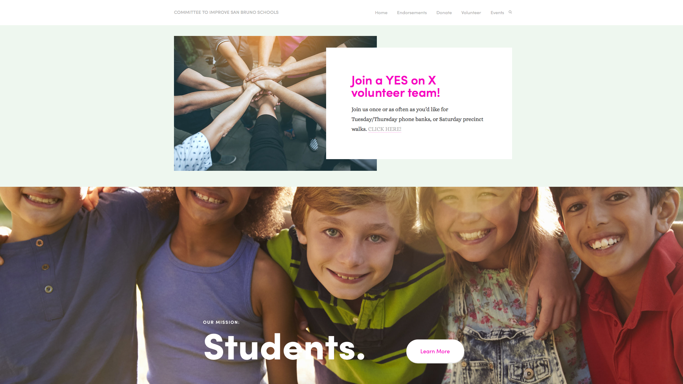 Website for Improve San Bruno Schools Measure X