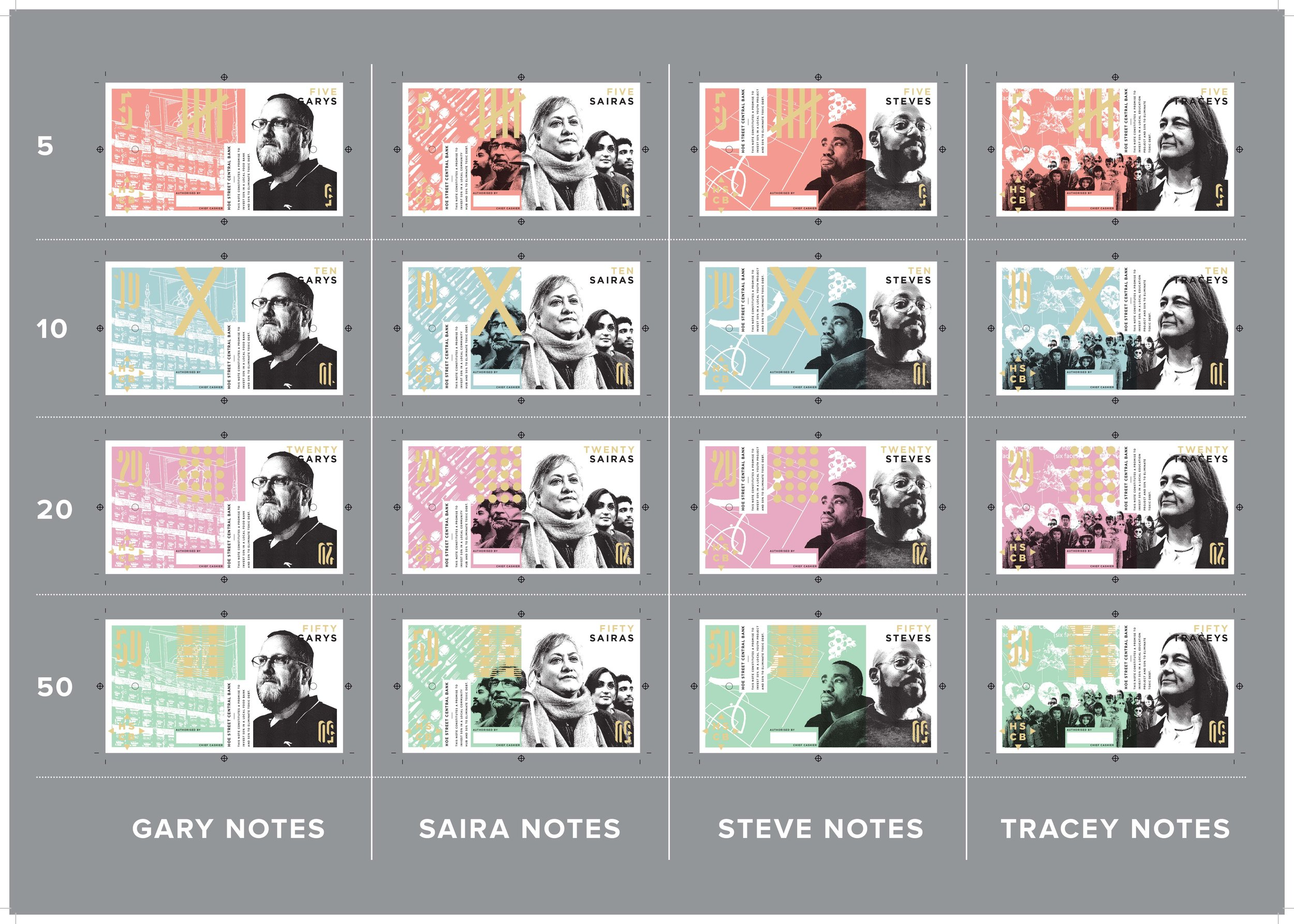 These are digital representations of the final printed notes. The colour range is the same but colours differ from the screen and the gold is foil blocked and shiny. They are all individually screen printed, letterpressed and foilblocked with additional finishing, stamping and signature.