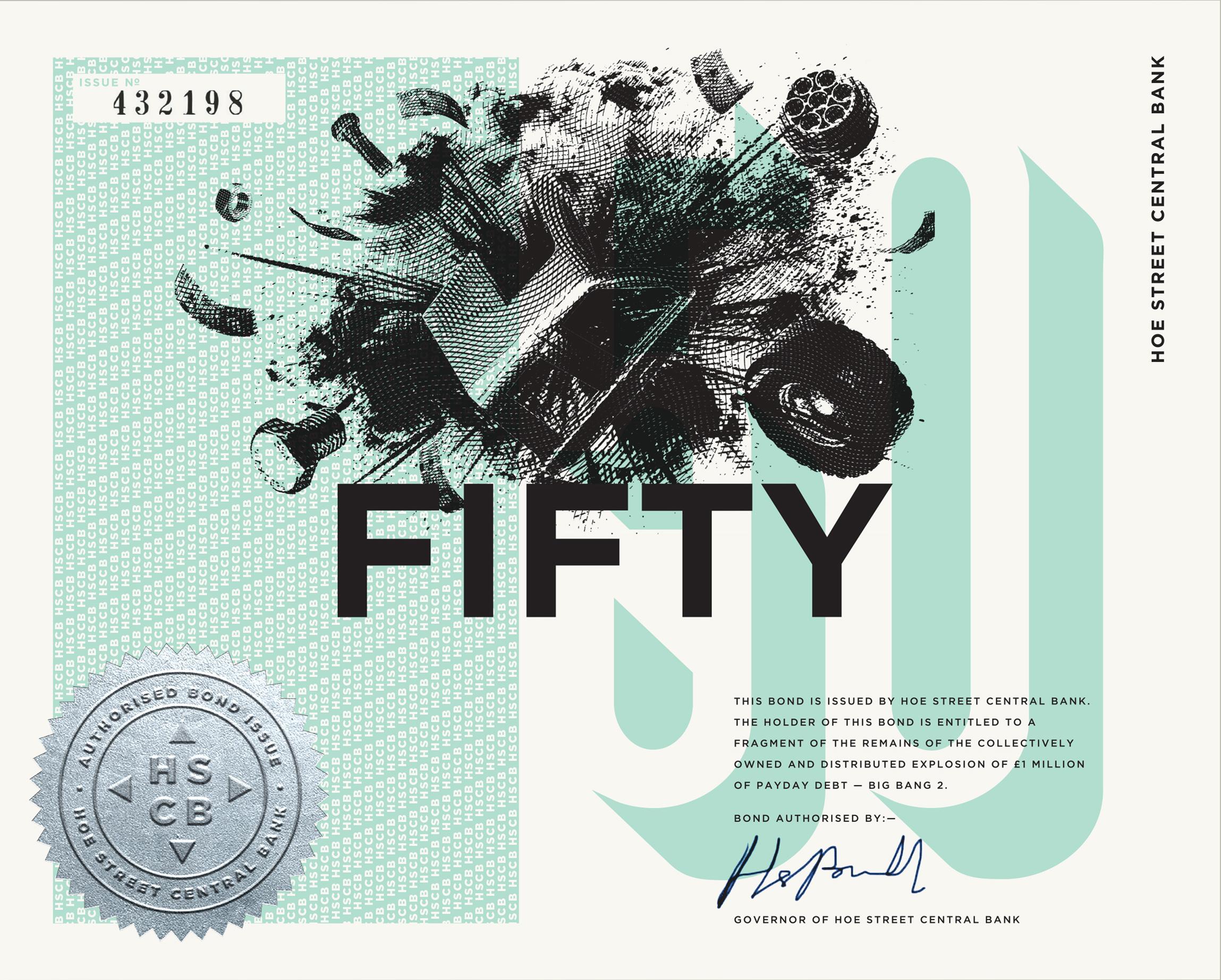 £50 HSCB BOND. Green. 195x156mm. Screen print, letterpress, foil block, company seal. Somerset velvet white 250gsm paper. Gilt edge.   BUY £50 BOND  . The above is a digital mockup. Return: coin.