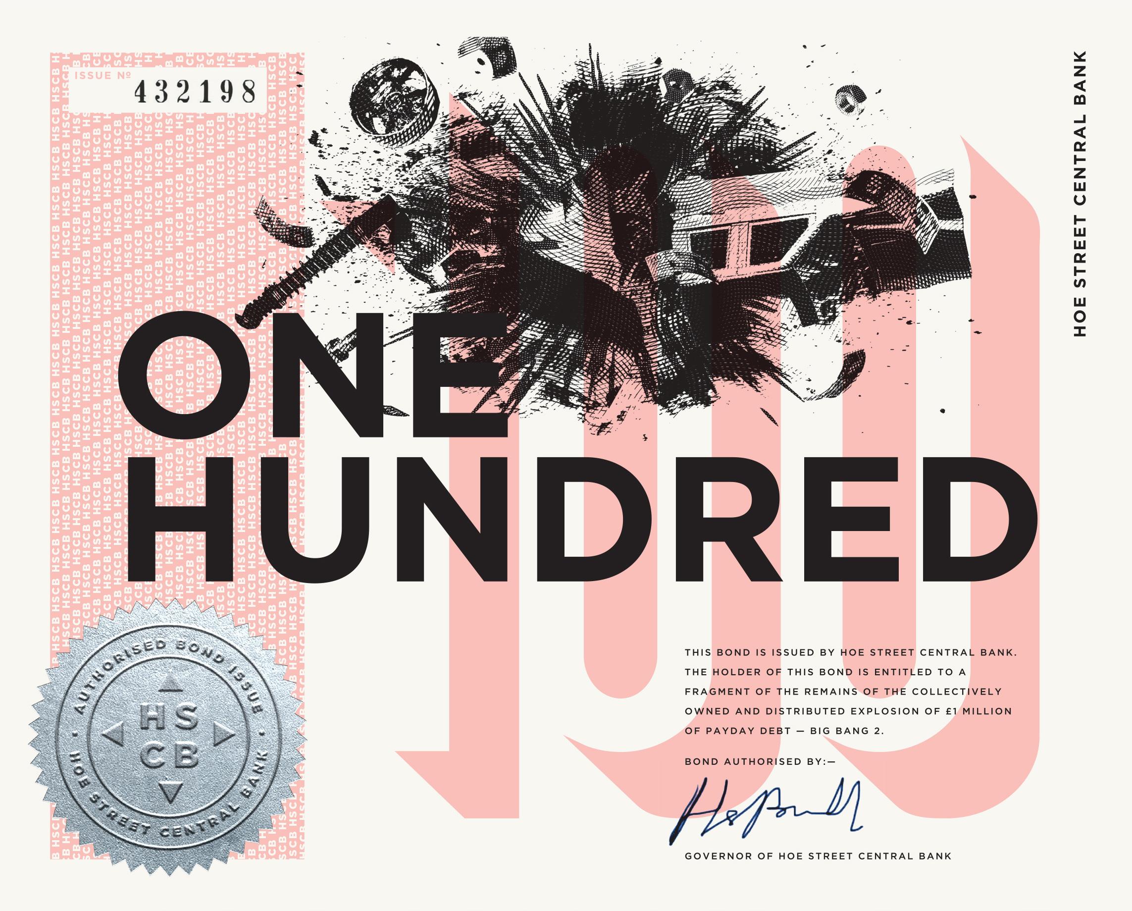 £100 HSCB BOND. Violet. 195X156mm. Screen print, letterpress, foil block, company seal. Somerset velvet white 250gsm paper. Gilt edge.   BUY £100 BOND  . The above is a digital mockuo. Return: coin.