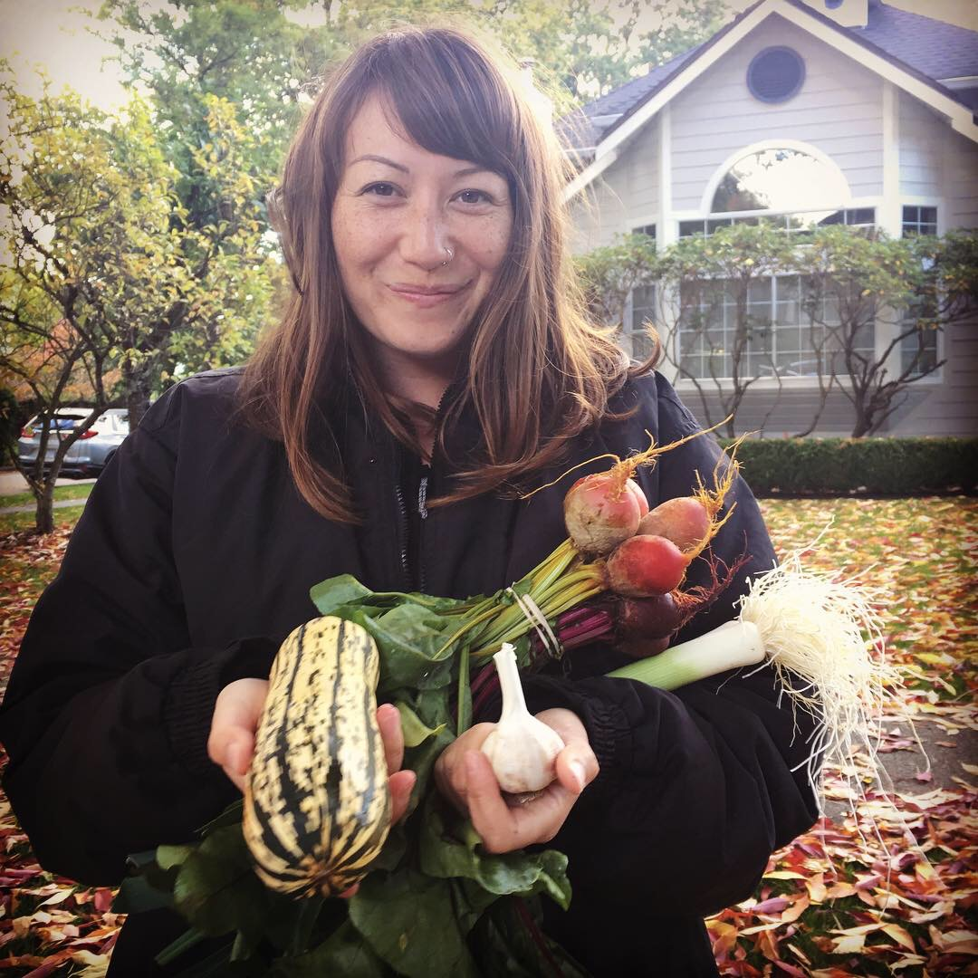 Me at the end of a shoot day with an armful of City Beet Farm's produce.