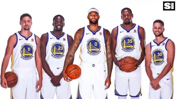 The Warriors and their new center Demarcus Cousins