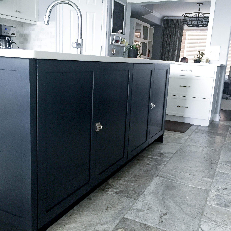 Dark cabinets, matchbox catch hardware