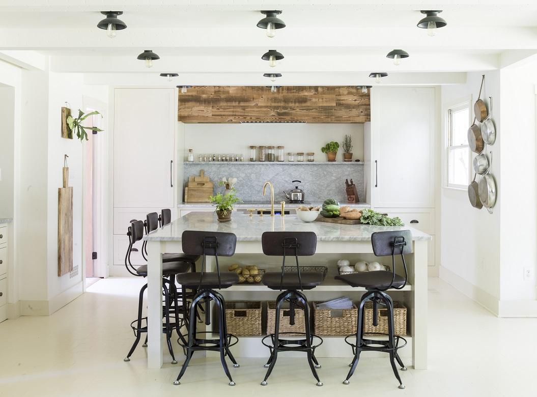 Lauren Liess' painted white floor and gorgeous kitchen.