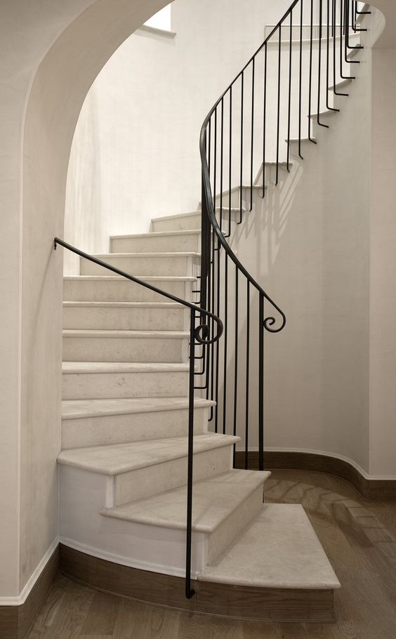 curved iron railing
