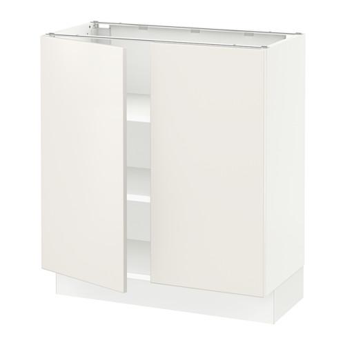 Base cabinet with shelves/2 doors, white, Veddinge white