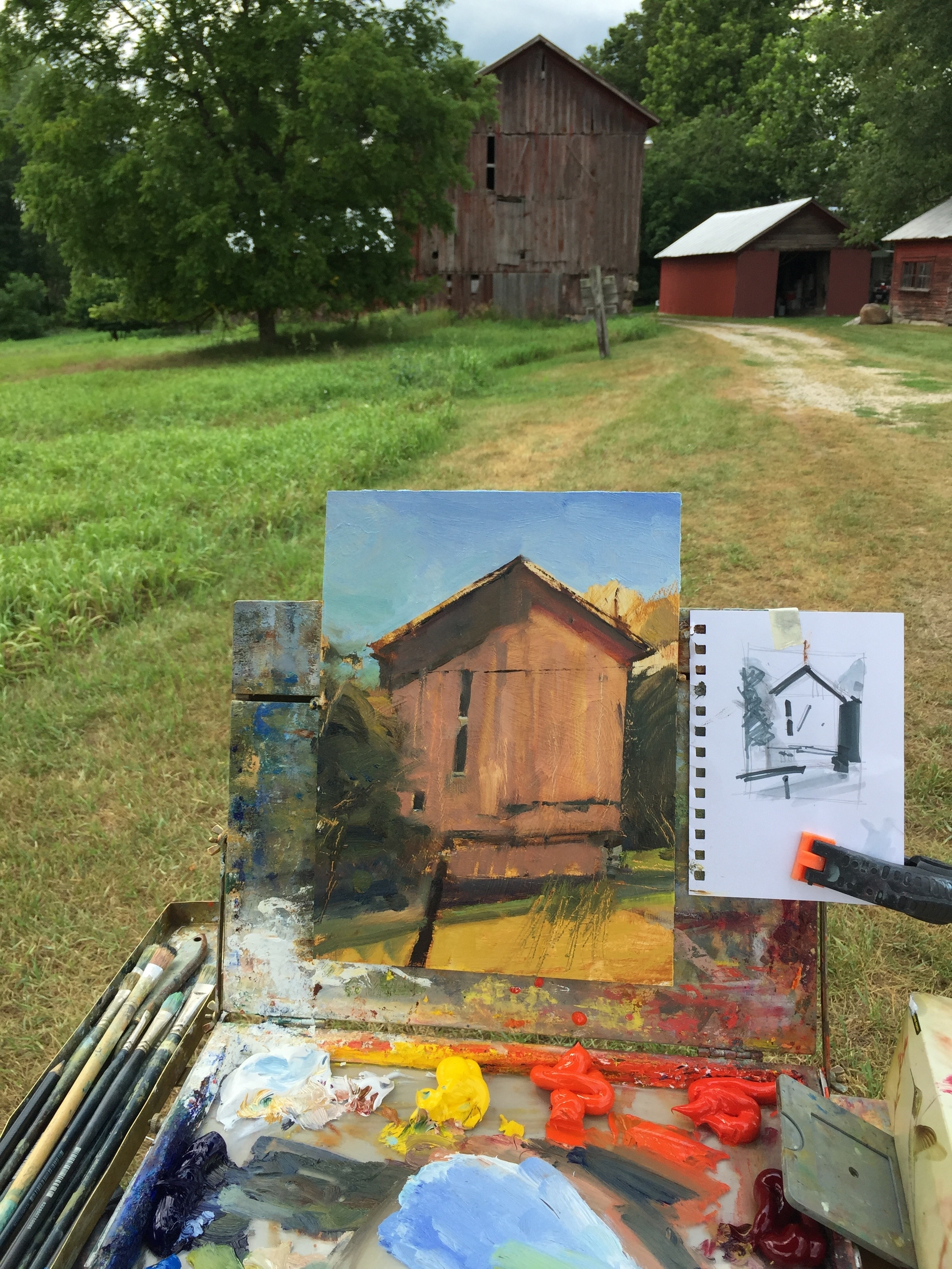 Painting a demo at a nearby 200 year old farm rich in visual and historical appeal!
