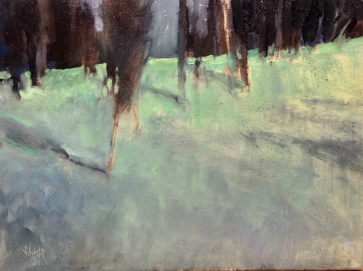 'Winter Woods at Night' 11x14
