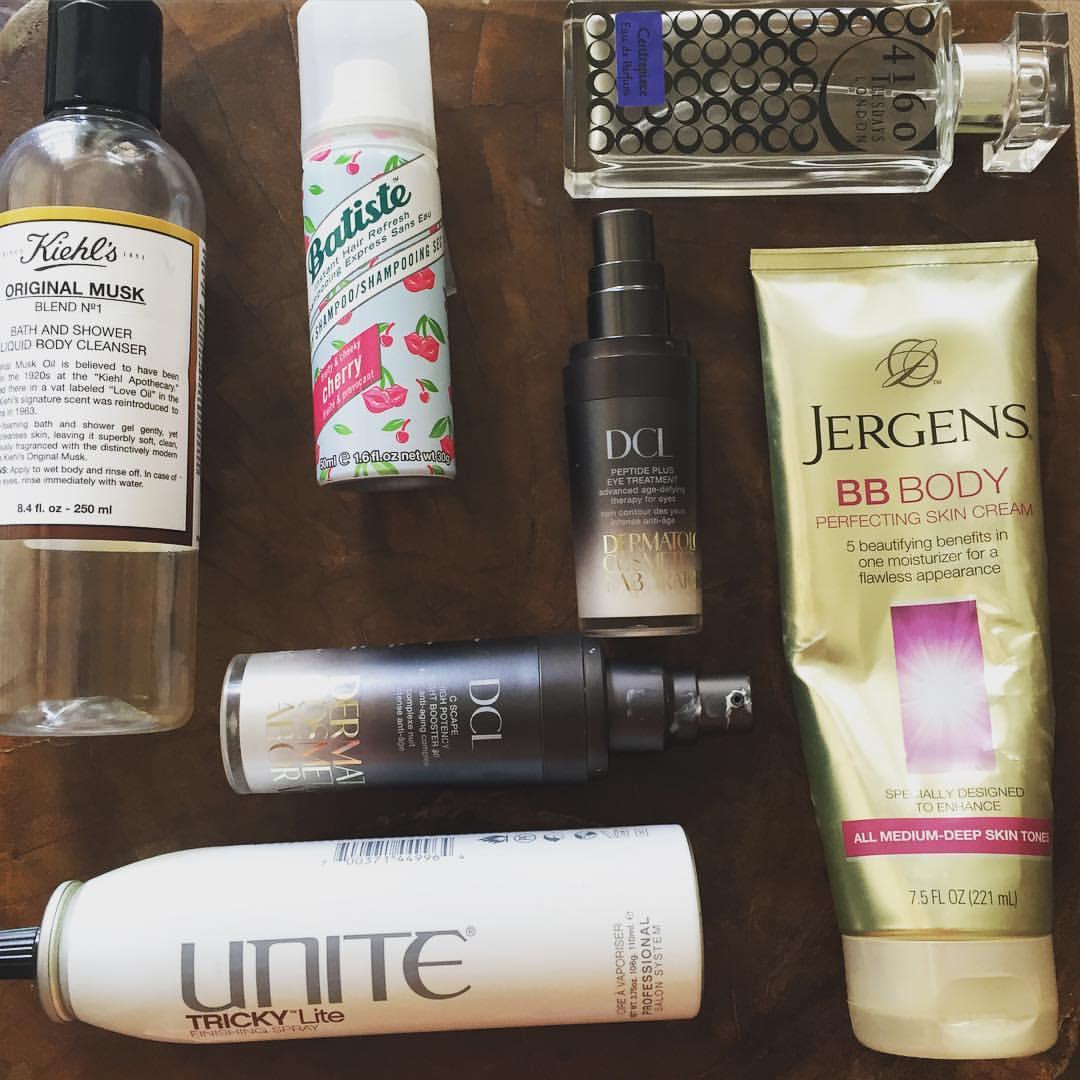 This week's #empties… @kiehlsnyc @batiste_hair  @4160tuesdaysperfume @dclskincare @unite_hair @jergensus #bodywash #musk #dryshampoo #hair #perfume #fragrance #bodylotion #bbcream #eyecream #vitaminc #antiaging #hairspray #beauty #blogger