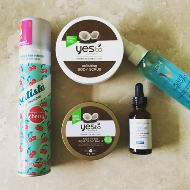 This week's #empties. @batiste_hair @yestocarrots @skinceuticals @vichyusa #dryshampoo #hair #bodyscrub #balm #coconut #skincare #serum #antiaging #cleansingoil #beauty