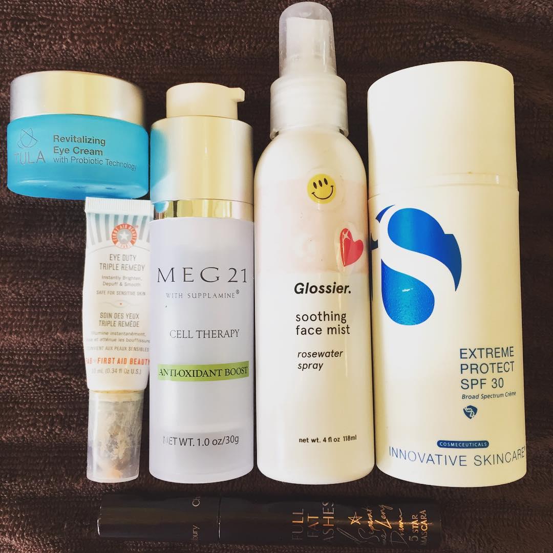 This week's #empties. @tulaforlife @firstaidbeauty @meg21skincare @glossier @isclinical_official #skincare #eyecream #antioxidant #serum #facialmist #sunscreen #spf #beauty #blogger