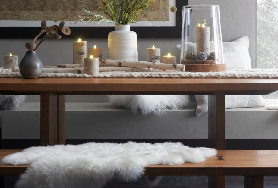 Lots of white accents and candlelight. Photo cred: Crate & Barrel
