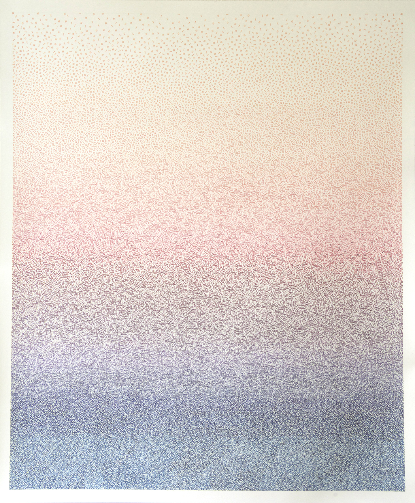 Nicky Broekhuysen's Sunset work, made of hand stamped 1s and 0s that touch but never overlap.